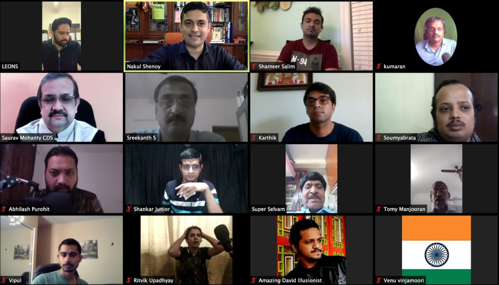 A screen-grab of the first virtual meeting hosted by IBM Karnataka Ring 177